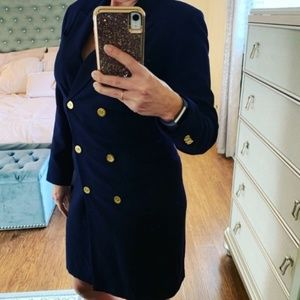 Vintage Navy double breasted button down dress